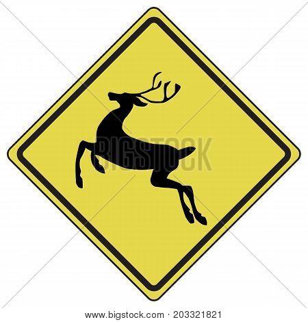 Deer traffic warning access advice ahead animal