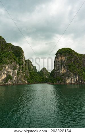 Beautiful Landscape Of Halong Bay Islands Covered With Green Plants