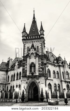 Beautiful Jakab's palace in Kosice city Slovak republic. Evening photo. Architectural scene. Black and white photo.