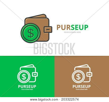 Vector of wallet logo. Unique purse and bank logotype design template.