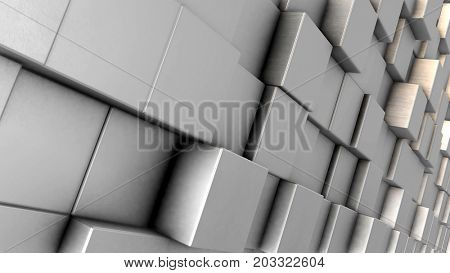 Abstract dynamic cube blocks wall. Realistic metallic texture. 3D rendering.