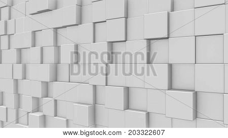 Abstract dynamic white cube blocks wall. Realistic plastic texture. 3D rendering.