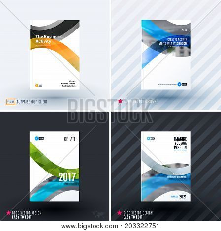 Design of business vector template, brochure, abstract annual report, cover modern layout, flyer in A4 with colourful soft rounded shapes, abstract lines for finance, catalogue with background. Set