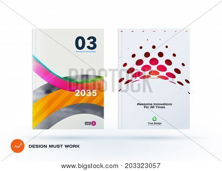 Design of business vector template, brochure, abstract annual report, cover modern layout, flyer in A4 with colourful soft rounded shapes, abstract rounds for finance, catalogue with background. Set
