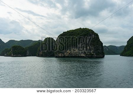 Landscape of spectacular islands of Halong Bay. Vietnam