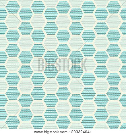 Modern stylish texture. Repeating geometric tiles with filled with dotted hexagons blue pastels color. Regular hipster background. Small circles form hexagonal minimalistic ornament.Vector illustration