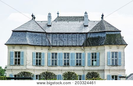 Beautiful Schloss Niederweiden in Austria. Architectural scene. Detail photo. Travel destination.