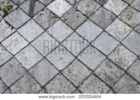 Slate roof of a house in Norway. Geometric pattern of stone