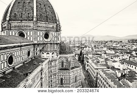 Cathedral Santa Maria del Fiore in Florence Tuscany Italy. Cradle of the renaissance. Travel destination. Black and white photo.