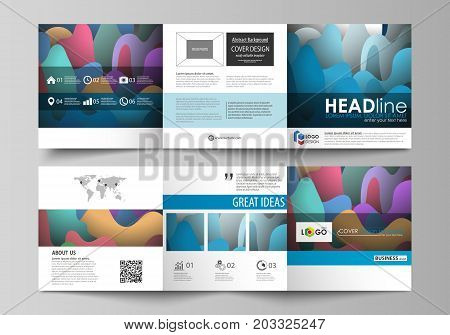 Set of business templates for tri fold square brochures. Leaflet cover, flat style vector layout. Bright color pattern, colorful design with overlapping shapes forming abstract beautiful background