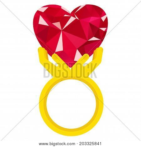 Ring with heart flat vector isolated on white. Ring in form of hands holding ruby heart. Sign of love, reciprocity. Gift for engagement, wedding, Valentine day, declaration of love.