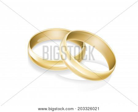 Gold wedding rings. Occasion, accessory, symbol of love. Marriage concept. Can be used for greeting cards, posters, leaflets and brochure