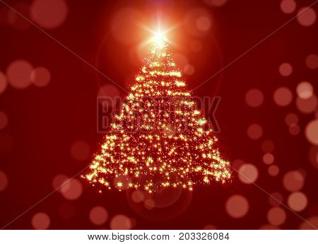 Glowing Christmas Tree Over Red Holiday Background