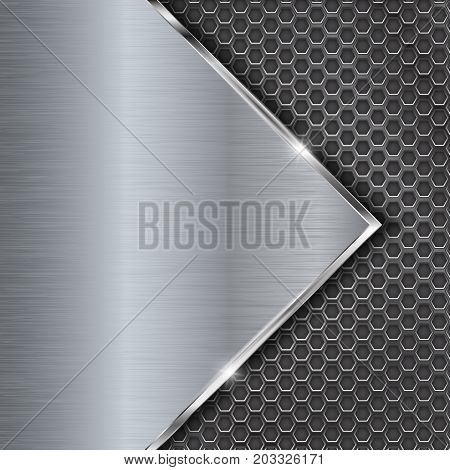 Chrome metal background with perforation. Vector 3d illustration