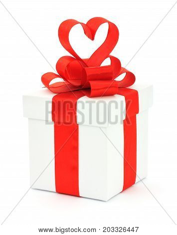 Gift box bow and heart on a white background