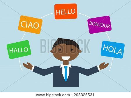 Concept of multi-lingual business man speaking many different languages