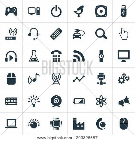 Elements Broadcast, Volume Control, Cogwheel And Other Synonyms Button, Wifi And Pointer.  Vector Illustration Set Of Simple Technology Icons.