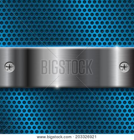 Blue metal perforated background with stainless steel plate. Vector 3d illustration