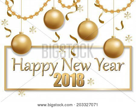 vector illustration of happy new year 2018 gold and white collors place for text christmas balls