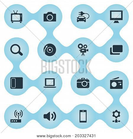 Elements Vinyl, Switch, Search And Other Synonyms Camera, Vinyl And Engine.  Vector Illustration Set Of Simple Hardware Icons.