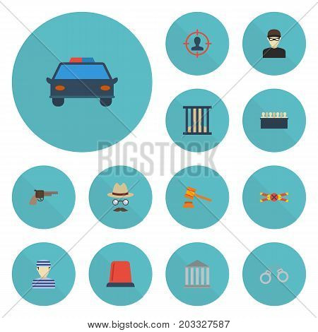 Flat Icons Manacles, Signal, Jail And Other Vector Elements