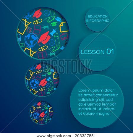 School abstract infographic concept with paper circles text round holes colorful icons on blue background vector illustration