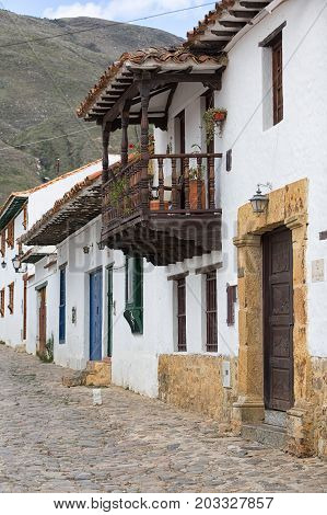 July 20 2017 Villa de Leyva Colombia: unchanged whitewash colonial architecture is a main attraction in the popular colonial town