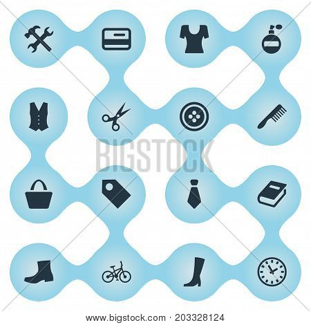 Elements Label, Fragrance, Garment And Other Synonyms Price, Book And Shears.  Vector Illustration Set Of Simple Equipment Icons.