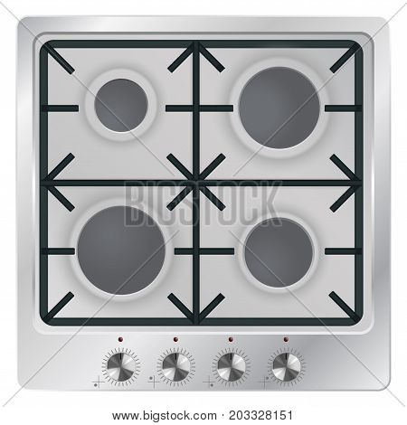 Gas cook top. Vector illustration on white