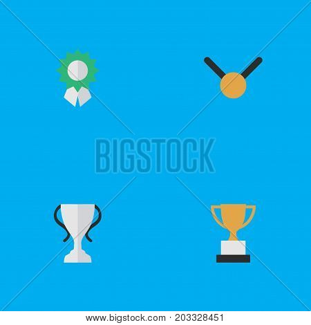 Elements Medal, Reward, Champion And Other Synonyms Reward, Gold And Goblet.  Vector Illustration Set Of Simple Achievement Icons.