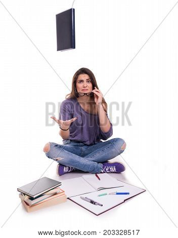 Sad Young Schoolgirl With Many Books