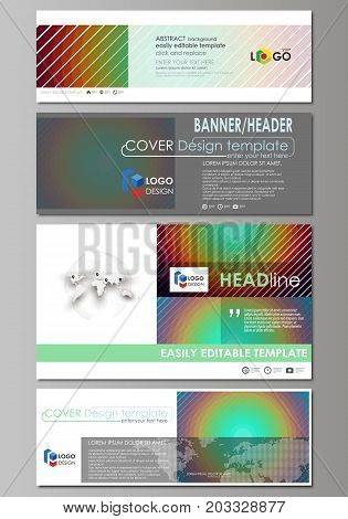 Social media and email headers set, modern banners. Business templates. Vector layouts in popular sizes. Minimalistic design with circles, diagonal lines. Geometric shapes, beautiful retro background