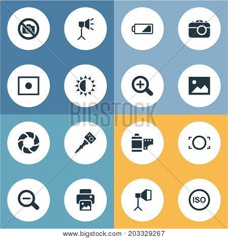 Elements Magnifying, Prohibited Camera, Photograph And Other Synonyms Illuminance, Magnifying And Brilliance.  Vector Illustration Set Of Simple Photograph Icons.