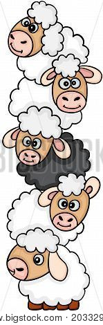 Scalable vectorial image representing a cute sheep stack, isolated on white.