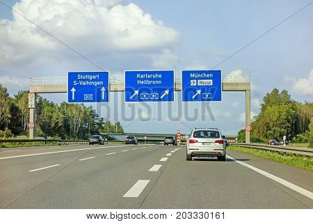 Freeway Road Sign On Autobahn A81, Stuttgart / Vaihingen - Karlsruhe / Heilbronn / Munich