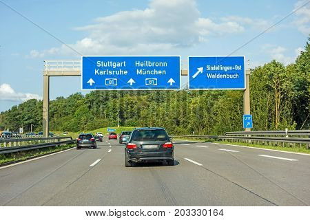 Freeway Road Sign On Autobahn A81, Stuttgart / Karlsruhe - Heilbronn / Munich