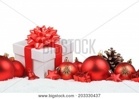 Christmas Gifts Presents Balls Decoration Snow Winter Isolated