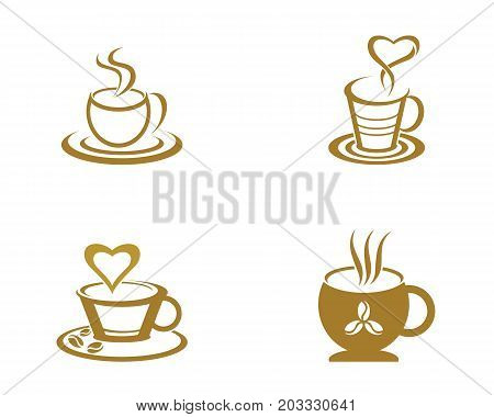Coffee drink cup Logo Template vector icon design
