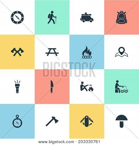 Elements Rucksack, Camper, Swiss Army Knife And Other Synonyms Bonfire, Fishman And Location.  Vector Illustration Set Of Simple Outdoor Icons.