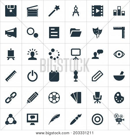 Elements Assessment, Bullhorn, Paintbrush And Other Synonyms Slideshow, Action And Wand.  Vector Illustration Set Of Simple Design Icons.