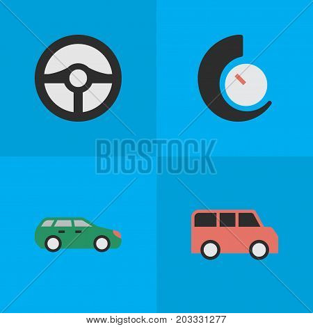 Elements Steering, Speedometer, Sedan And Other Synonyms Speedometer, Auto And Chronometer.  Vector Illustration Set Of Simple Shipping Icons.