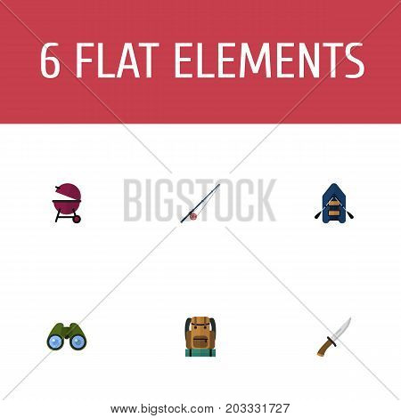 Flat Icons Ship, Zoom, Fishing And Other Vector Elements