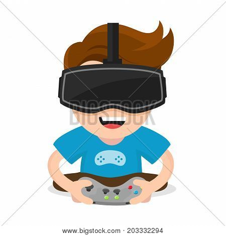 Cheerful happy boy young man hold joystick plays video game in vr glasses.Vector flat modern style illustration character icon design. Isolated on white background.  Virtual reality gamer vr concept poster