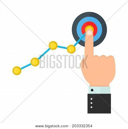 Finger up holding chart arrow on target. Businessman manages financial growth graph. Profit growing concept. business vector modern style cartoon illustration icon design. Isolated on white background