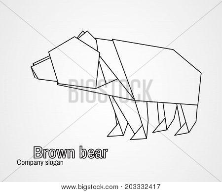 Origami logo contour bear on a white background. Vector illustration