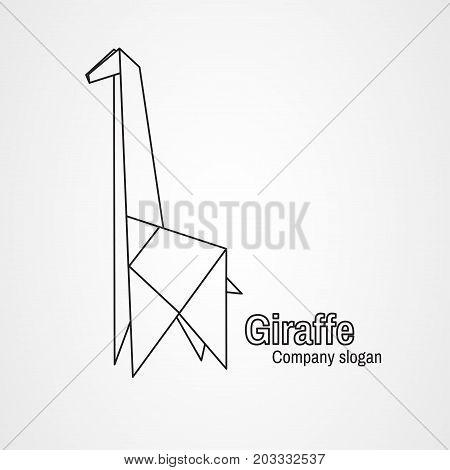 Origami logo contour giraffe on a white background. Vector illustration