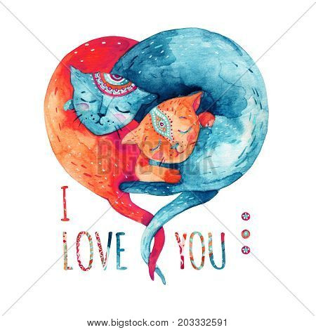 Watercolor pair of lovely cats isolated on white background. I love you - concept in cartoon style. Two hugging cats in form of heart. Hand painted cute animal illustration