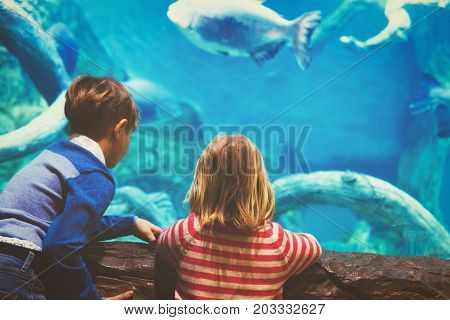 little boy and girl watching fishes in large aquarium