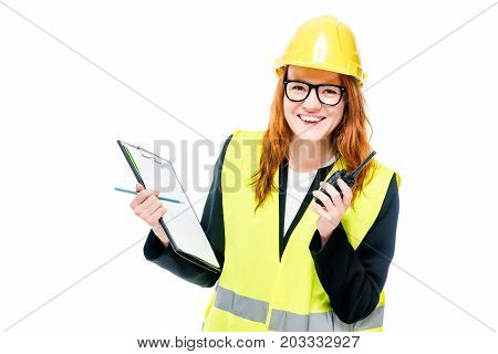 Happy Woman Builder In Protective Clothes On White Background With Walkie-talkie