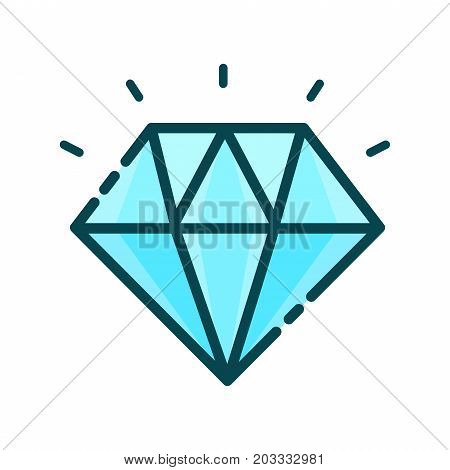 Diamond, precious stone.Vector modern line outline flat style cartoon illustration icon. Isolated on white background. Shining diamond concept